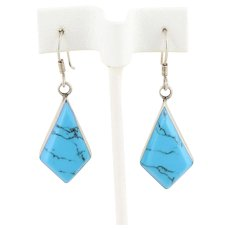 Sterling Silver Blue Howlite Dangle Earrings Vintage Taxco