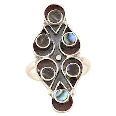 Sterling Silver Abalone Shell Ring Size 7 1/2 Long Finger Ring Navette