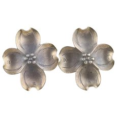 Sterling Silver Dogwood Flower Screw Back Clip On Earrings