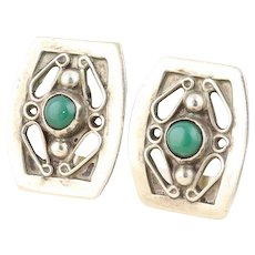 Green Jasper Screw Back Clip on Sterling Silver Earrings