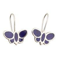 Butterfly Lapis Lazuli Dangle Drop Earrings in Sterling Silver