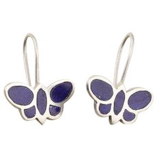Butterfly Lapis Lazuli Dangle Drop Earrings in Sterling Silver