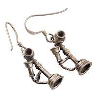 Vintage Phone Earrings Sterling Silver Dangle Drop Earrings