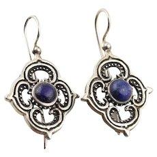Sterling Silver Lapis Lazuli Dangle Drop Earrings