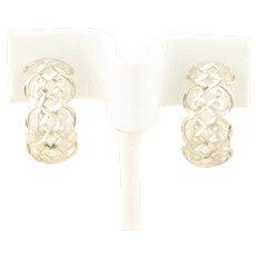 Sterling Silver Hoop Earrings 3/4 Inch Filigree Design