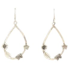 Flower Butterfly Sterling Silver  Dangle Drop Earrings