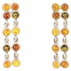 Amber Sterling Silver Dangle Drop Earrings