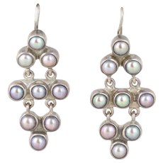 Cultured Grey Pearl Sterling Silver Dangle Drop Earrings