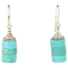 Sterling Silver Turquoise Bead Dangle Drop Earrings