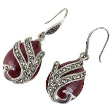 Peacock Marcasite Sterling Silver Dangle Drop Earrings