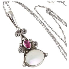 Mother of Pearl and Pink CZ Sterling Silver Necklace 18 inch chain