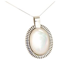 Large Mother of Pearl Sterling Silver Pendant