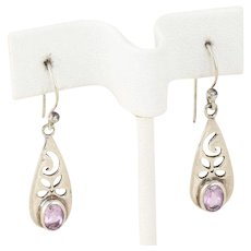 Sterling Silver Purple Amethyst Dangle Drop Earrings