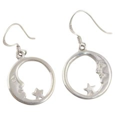 Sterling Silver Star and Moon Dangle Drop Earrings