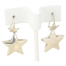 Puffy Star Earrings Sterling Silver Dangle Drop Earrings