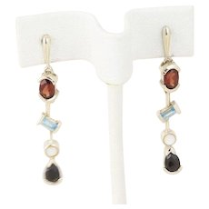 Sterling Silver Dangle Drop Earrings Blue Topaz Garnet Mother of Pearl CZ
