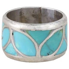 Sterling Silver Turquoise Inlay Ring Band Size 4