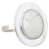 Sterling Silver Howlite Ring Size 9 1/2
