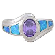 Sterling Silver Simulated Amethyst and Opal Ring size 7