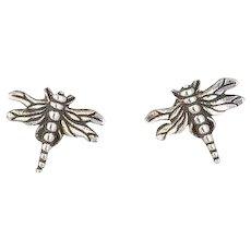 Sterling Silver Dragonfly Stud Post Earrings