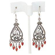 Sterling Silver Coral Dangle Drop Earrings