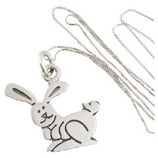 "Sterling Silver Bunny Rabbit Necklace 18"" inch chain"