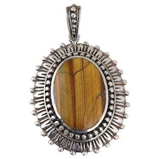 Large Sterling Silver Tiger's Eye Pendant Only
