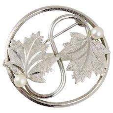 Sterling Silver Maple Leaf Pearl Pin Brooch