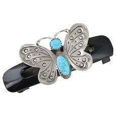 Sterling Silver Turquoise Butterfly Mounted on a Plastic Goody Hair Clip