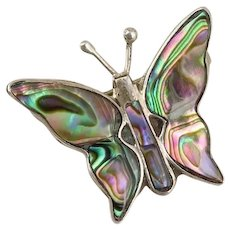 Sterling Silver Abalone Butterfly Pin Brooch