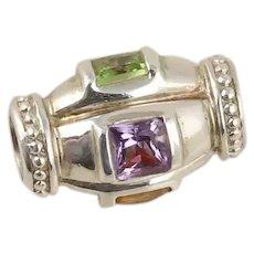 Sterling Silver Bead Charm for Bracelet Garnet, Citrine, Amethyst, Peridot