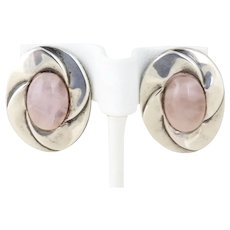 Sterling Silver Rose Quartz Stud Post Earrings