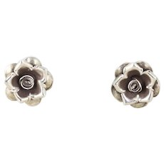 Sterling Silver Flower Stud Post Earrings