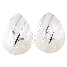 Sterling Silver Teardrop Etched Leaf Design Stud Post Earrings
