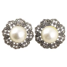Sterling Silver Large Marcasite and Simulated Pearl Stud Post Earrings