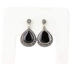 Sterling Silver Onyx and Marcasite Dangle Drop Earrings