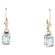 Sterling Silver Blue Topaz Dangle Drop Earrings