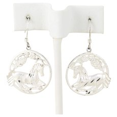 Sterling Silver Unicorn Dangle Drop Earrings