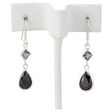 Sterling Silver Simulated Sapphire and Hematite Dangle Drop Earrings