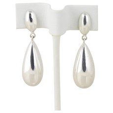 Sterling Silver Puffy Tear Drop Dangle Drop Earrings Clip On