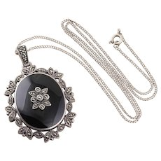 Sterling Silver Large Black Onyx and Marcasite Necklace 18 1/2 inch chain