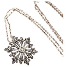 Sterling Silver Marcasite Snowflake Necklace 16 inch Chain