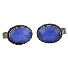 Sterling Silver Cufflinks Blue Glass with Star etched inside Bullet Back Cuff Links