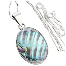 Large Sterling Silver Abalone Shell Necklace 18 inch chain