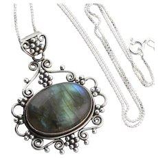 Sterling Silver Labradorite Flower Necklace 18 inch chain