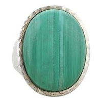 Large Sterling Silver Malachite Ring Size 6 1/4