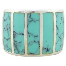 Sterling Silver Turquoise Band Ring Size 5 1/2