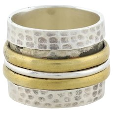 Sterling Silver Hammered Spinner Band Ring with Copper Accent Bands size 5 3/4