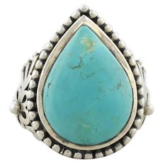Sterling Silver Turquoise Ring Size 8 1/2