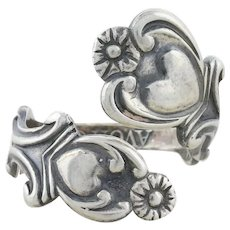 Sterling Silver Heart Spoon Ring Size 8 1/4 Vintage Avon